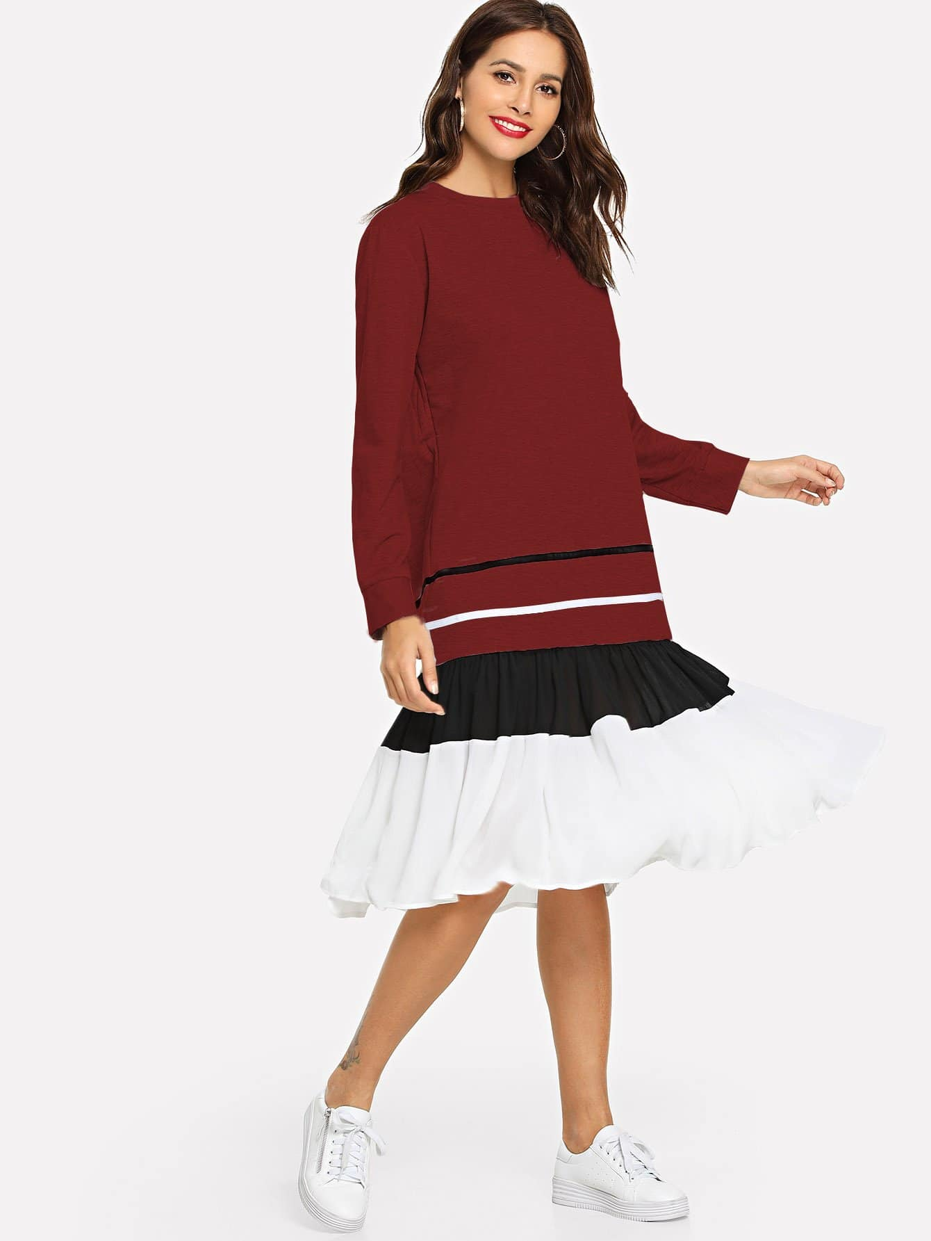 Купить Полосатое контрастное платье с оборкой низом, Giulia, SheIn