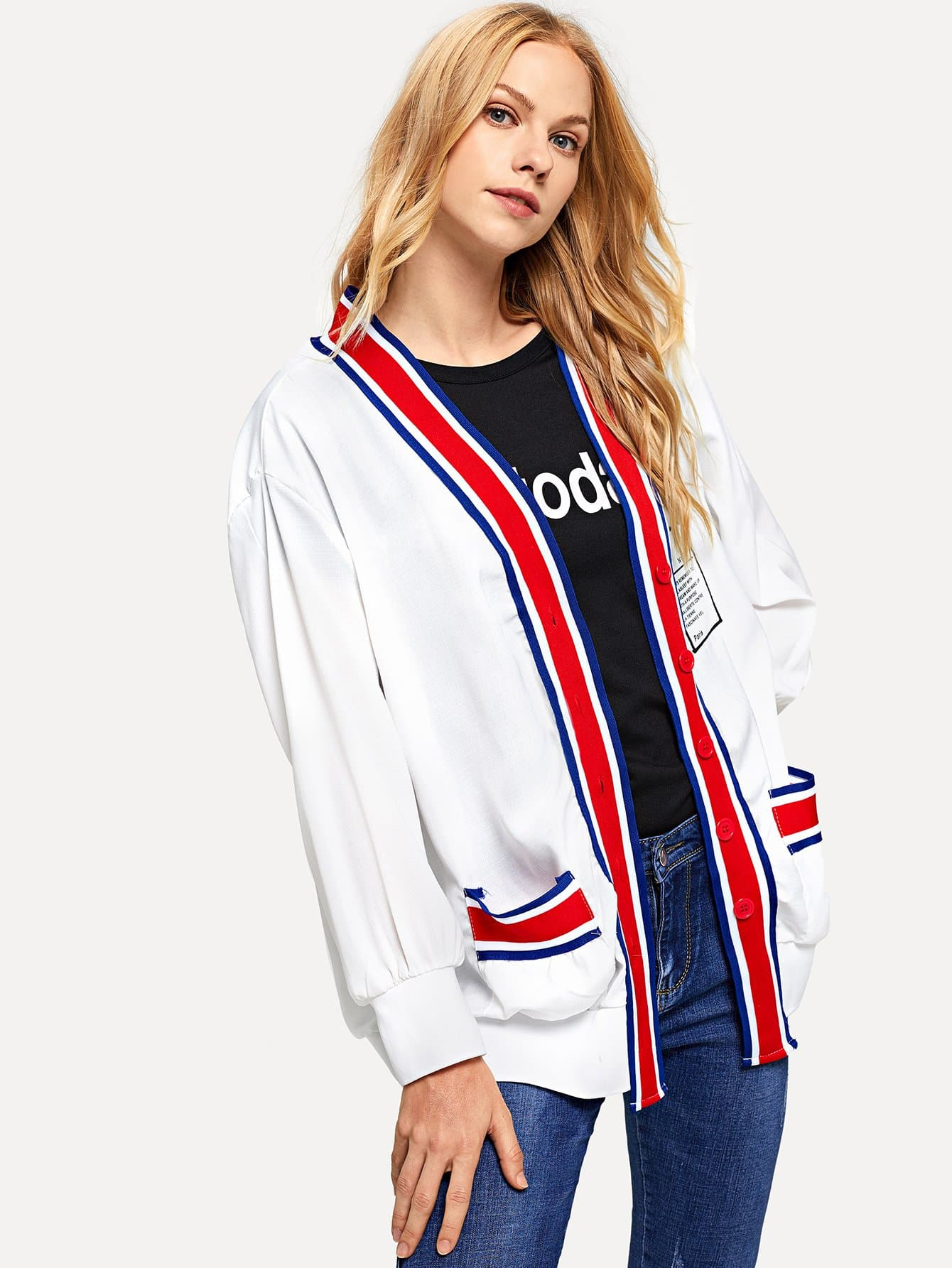 Striped Tape Panel Letter Print Back Outerwear