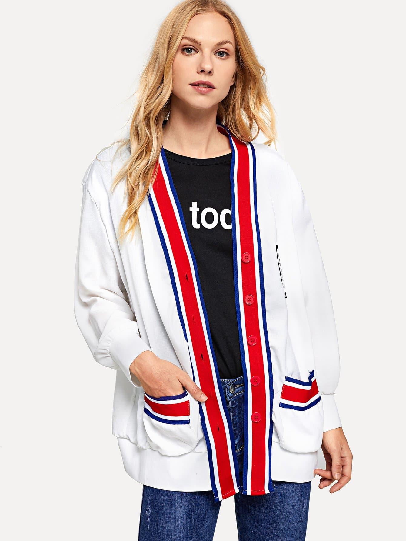 Купить Пальто с принтом букв с полосатой отделкой, Denisa, SheIn