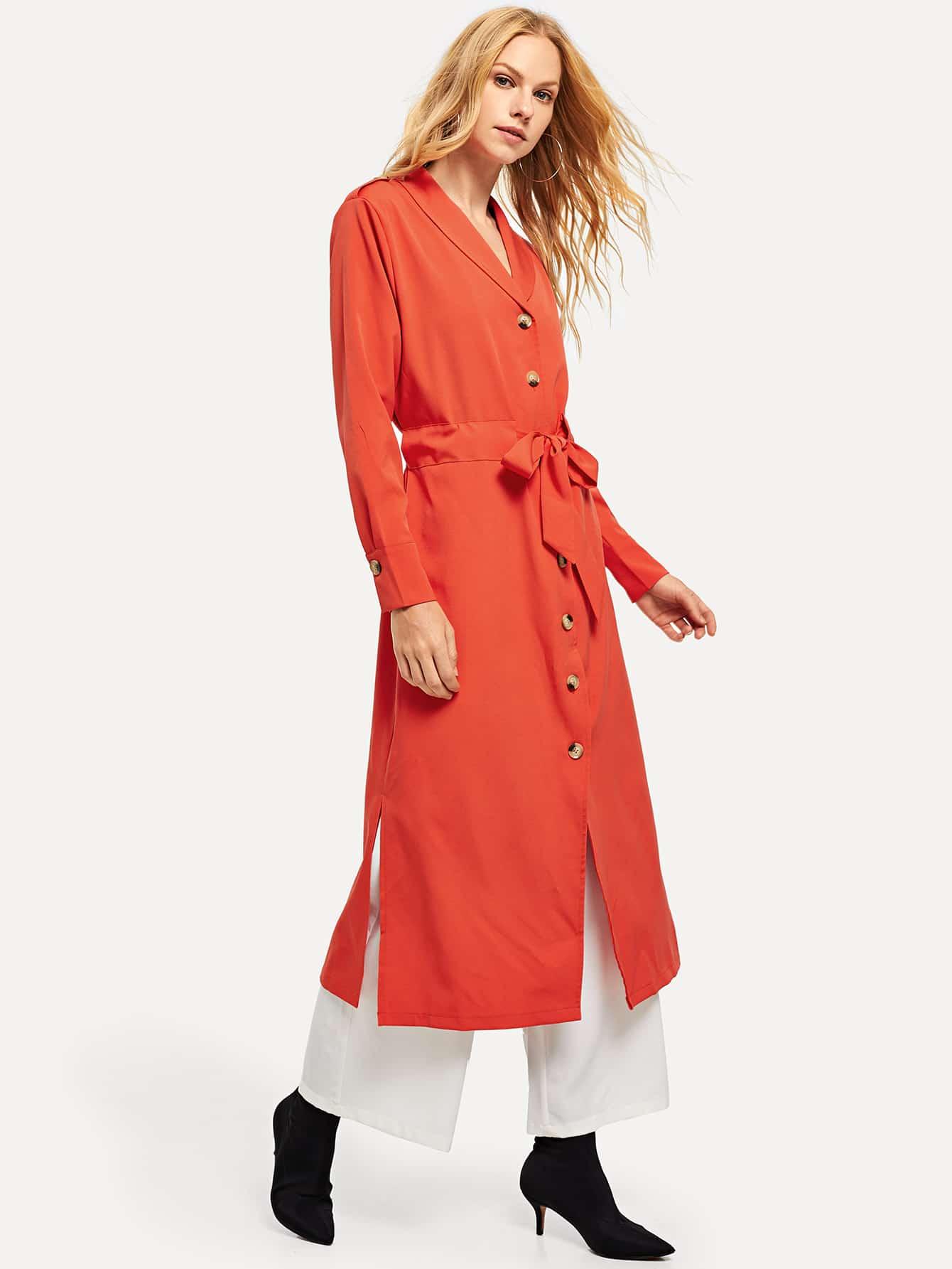 Купить Однобортное пальто с поясом, Denisa, SheIn