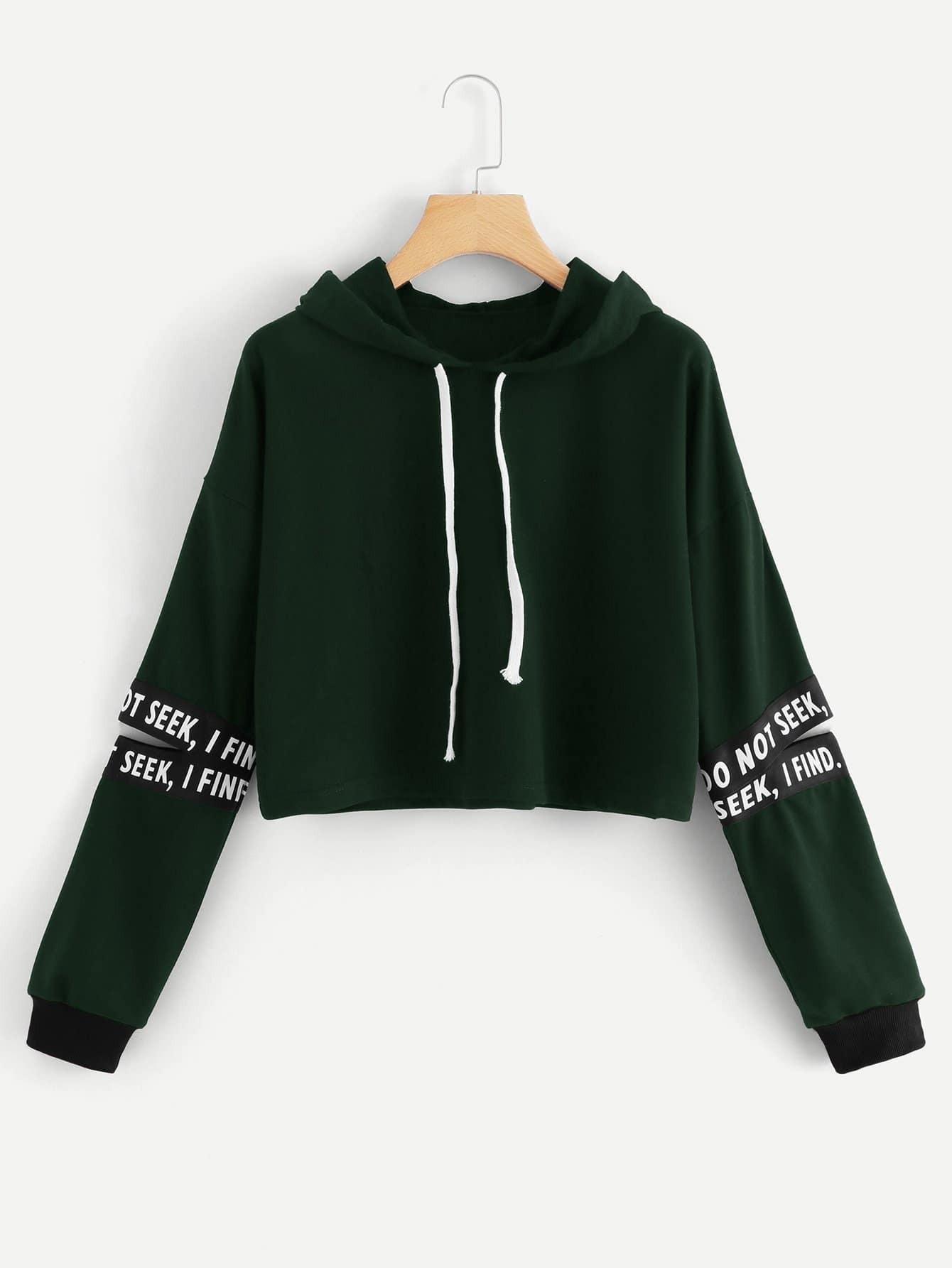 Letter Tape Split Sleeve Sweatshirt