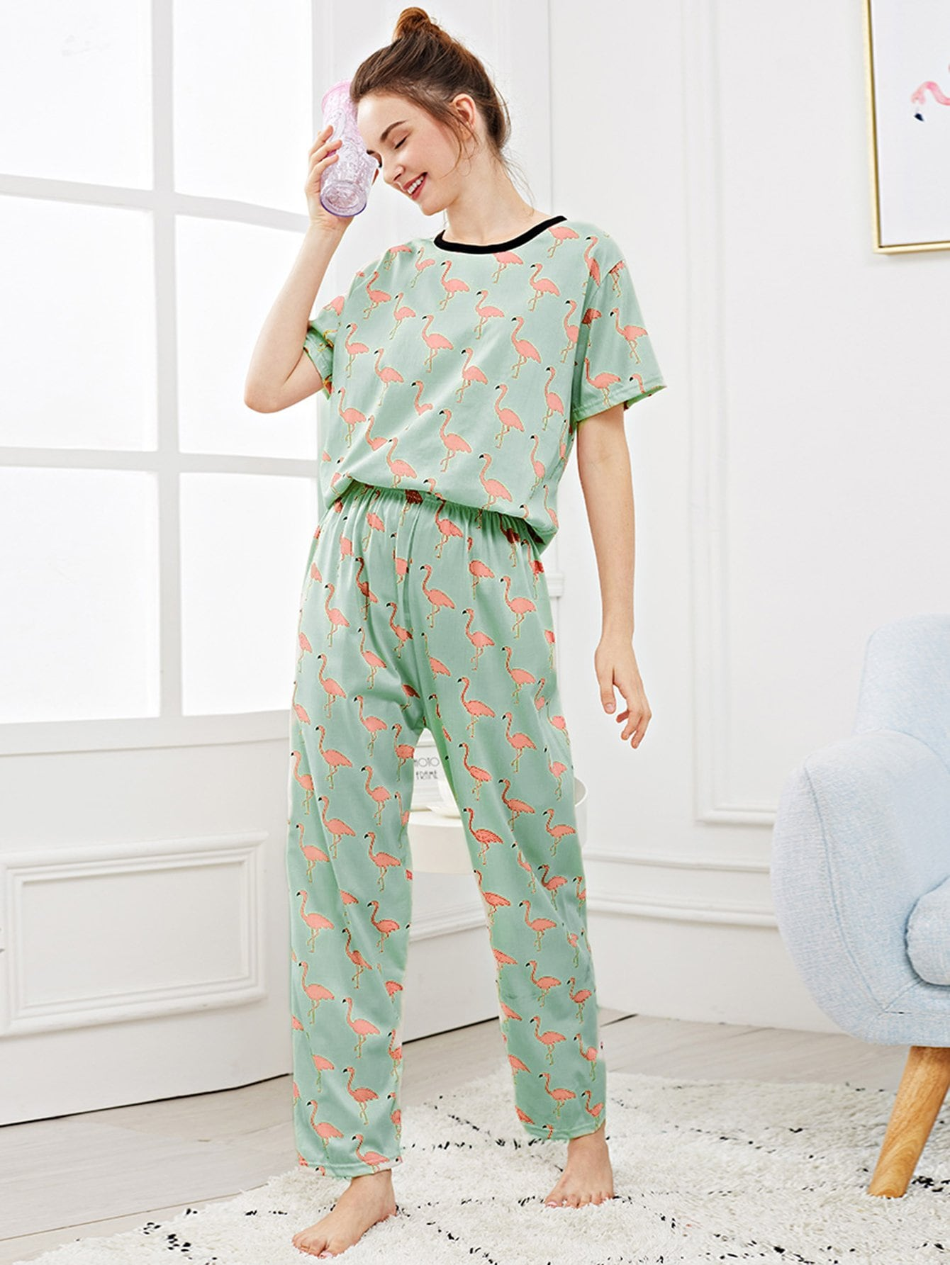 Allover Flamingo Print Pajama Set