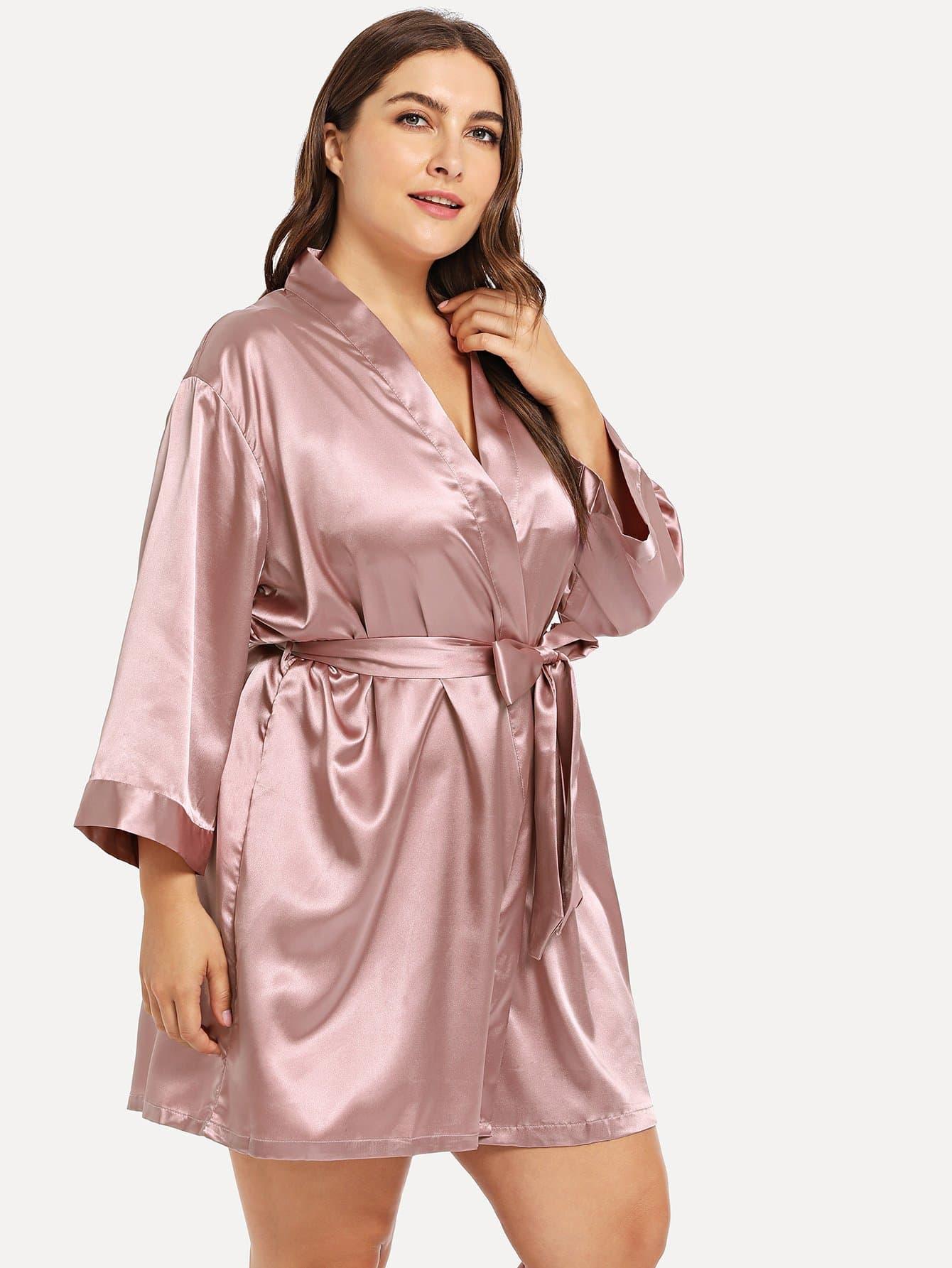 Купить Большой домашний халат с поясом и бантом, Franziska, SheIn