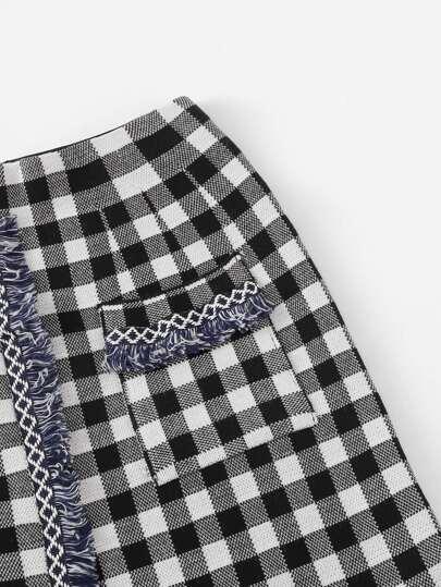 Romwe / Dual Pocket Raw Hem Checked Skirt