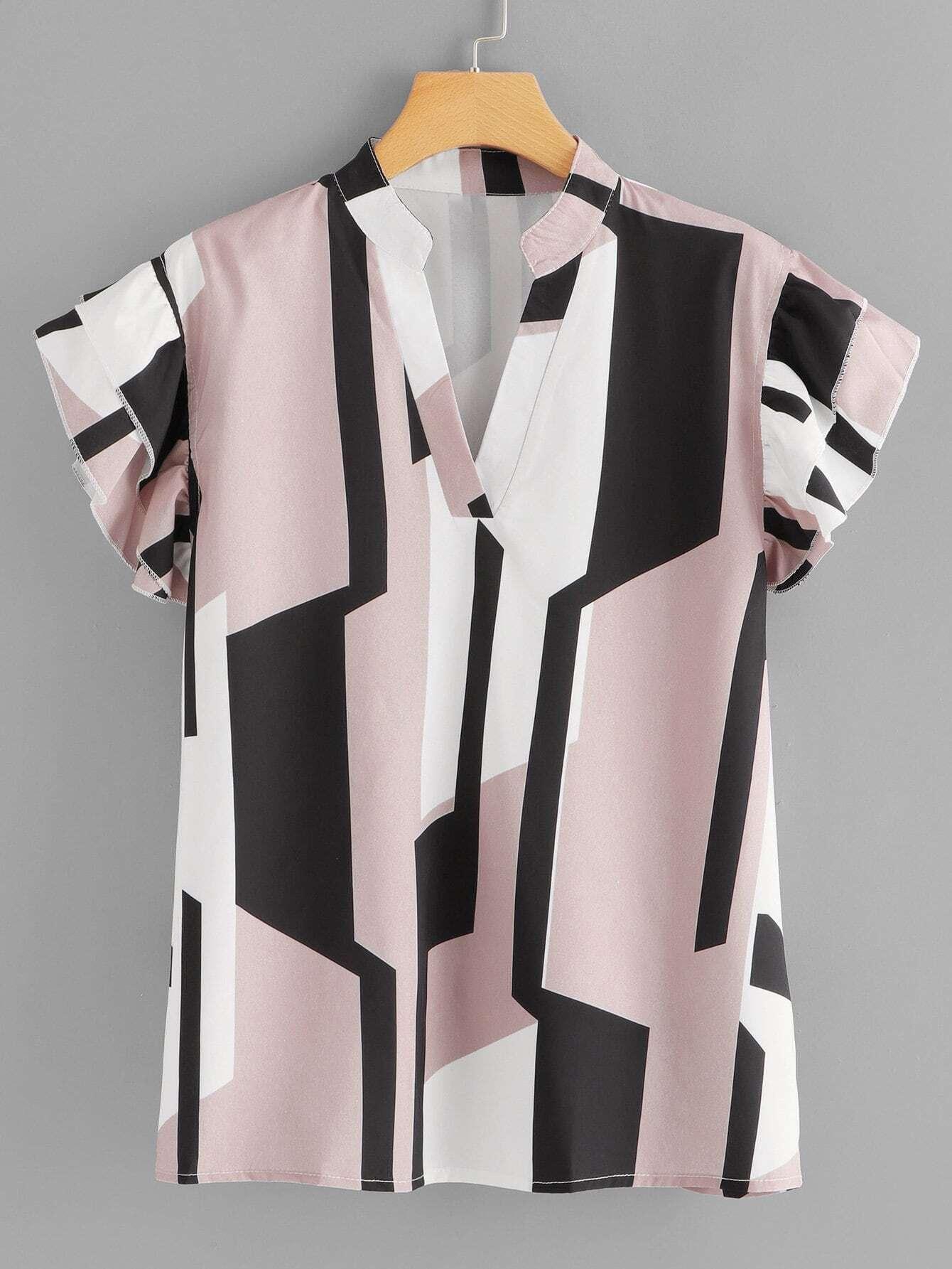Übergroße Bluse mit Schößchensaum auf den Ärmeln und Geometriemuster
