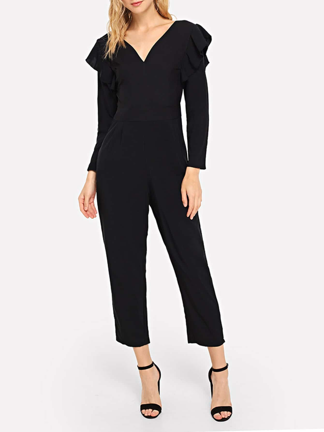 Ruffle Trim V Neck Solid Jumpsuit choker neck embroidered ruffle trim jumpsuit
