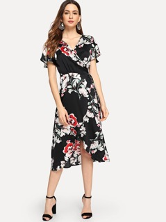 Floral Print Knot Waist Surplice Wrap Dress