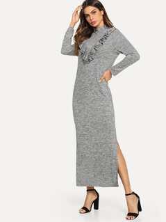 Ruffle Trim Side Slit Space Dye Dress