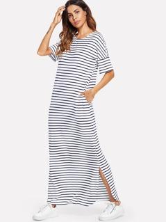 Side Striped Split Tunic Dress