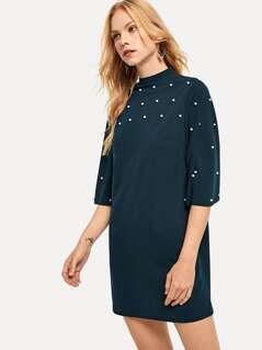Mock Neck Pearl Embellished Bell Sleeve Dress