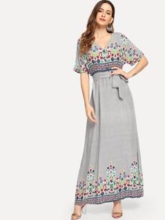 Belted Floral & Striped Dress