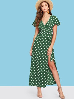 Wrap Front Polka Dot Cape Dress