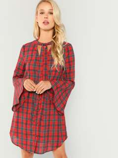 Tie Neck Bell Sleeve Plaid Dress
