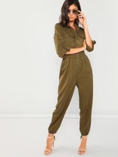 Zip Up Pocket Front Elastic Waist Jumpsuit