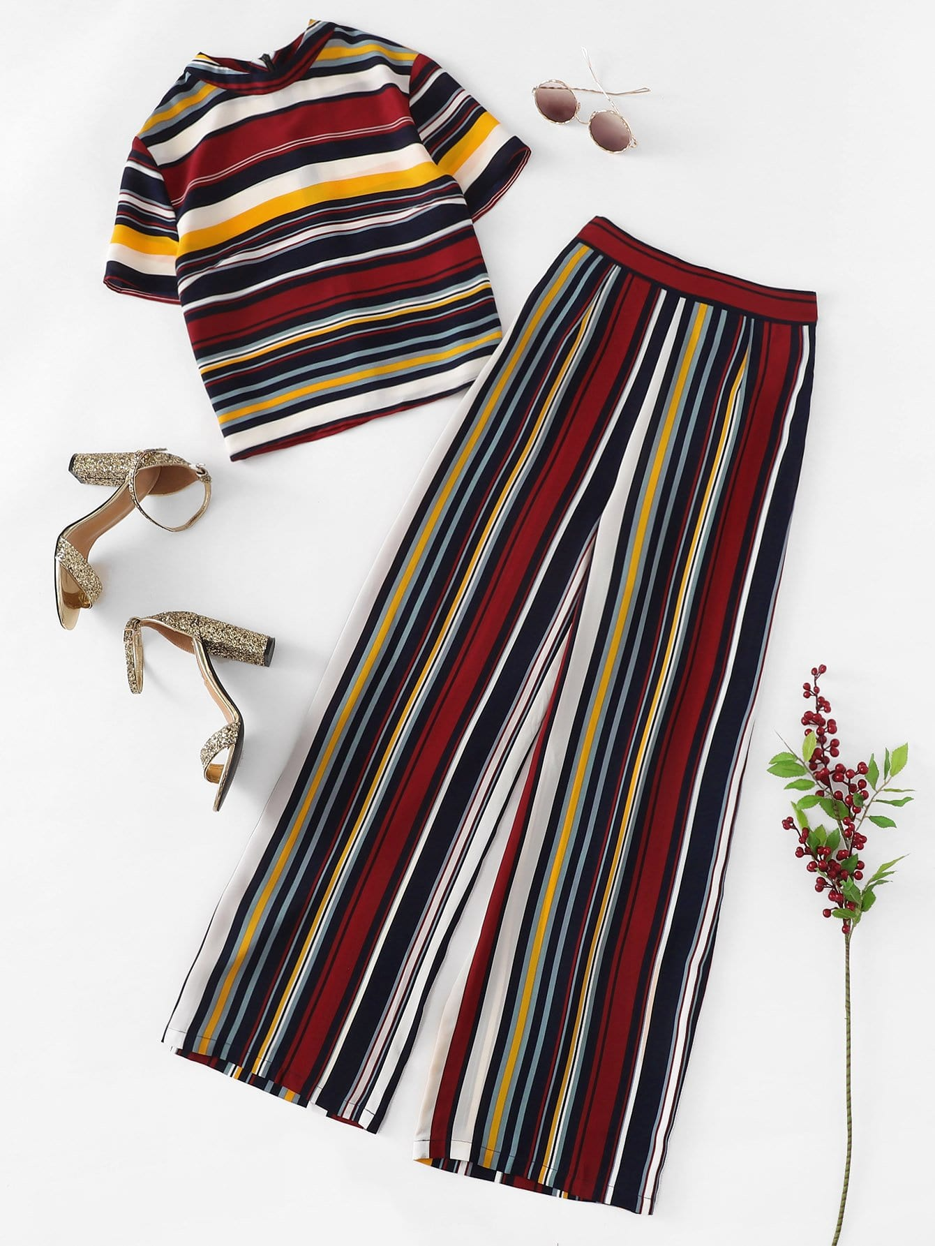 Mock Neck Striped Top & Palazzo Pants Co-Ord