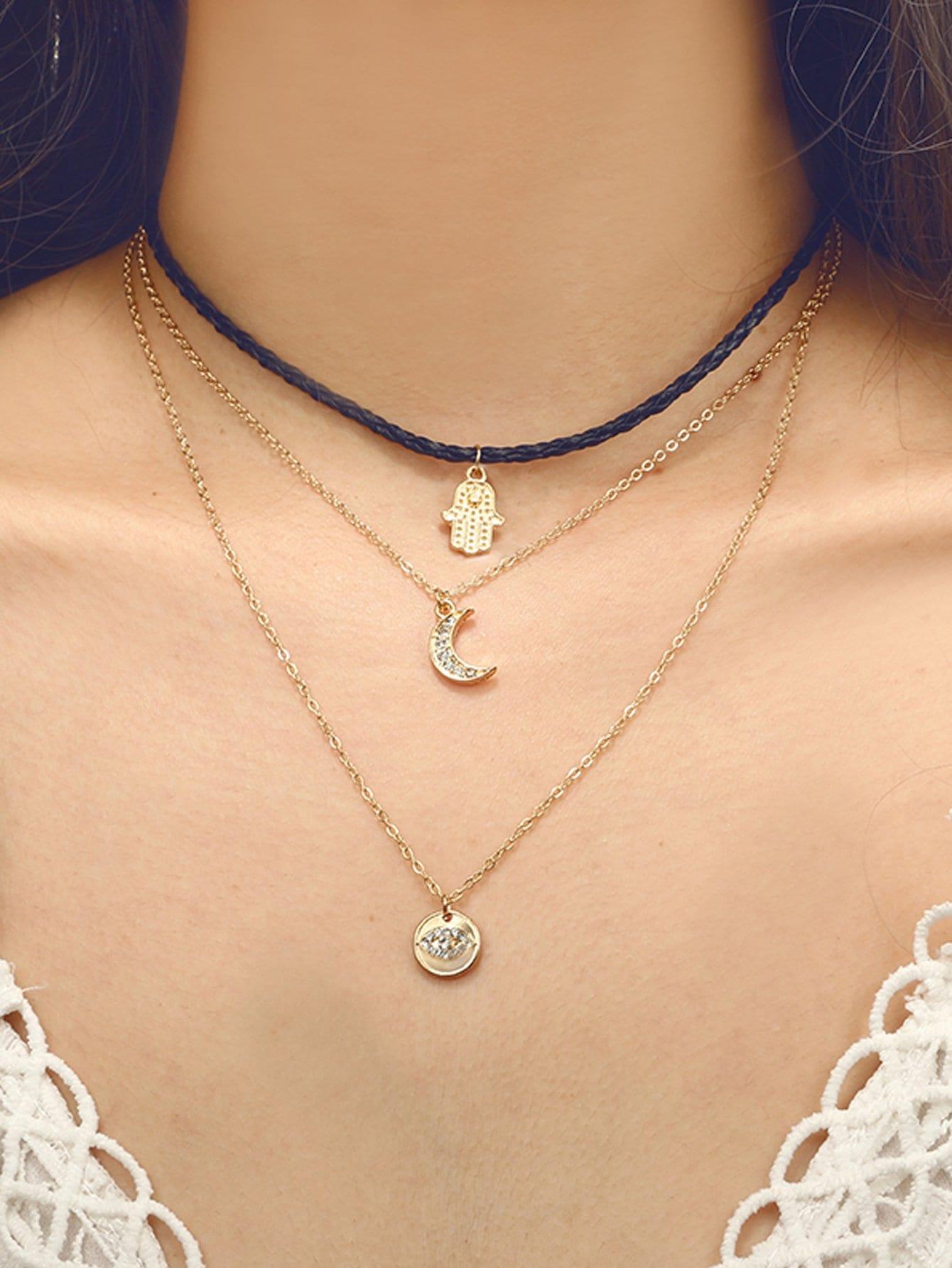 Mond & Hand Anhänger geschichteten Halskette