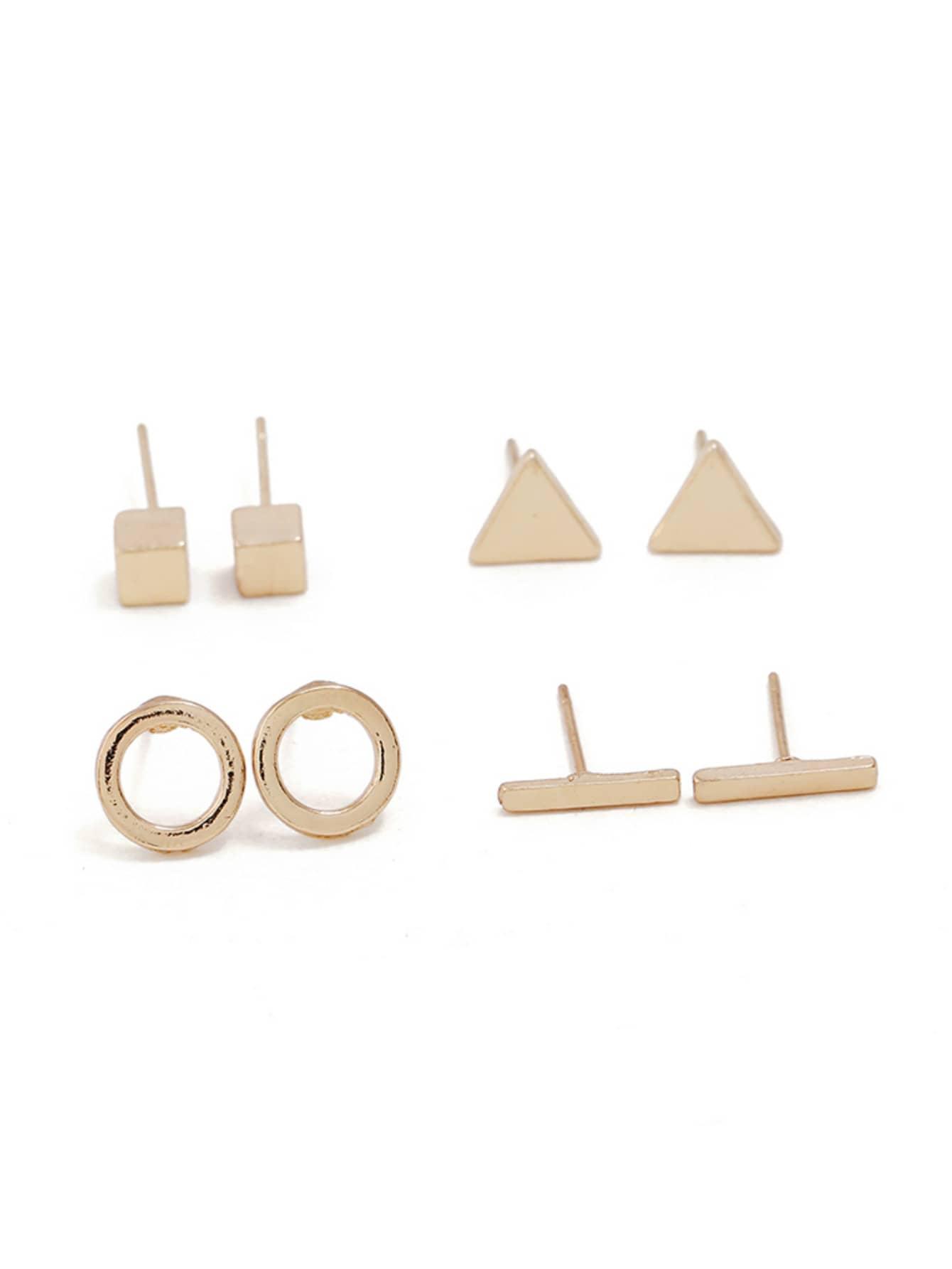 Bar & Circle Stud Earrings 4pairs