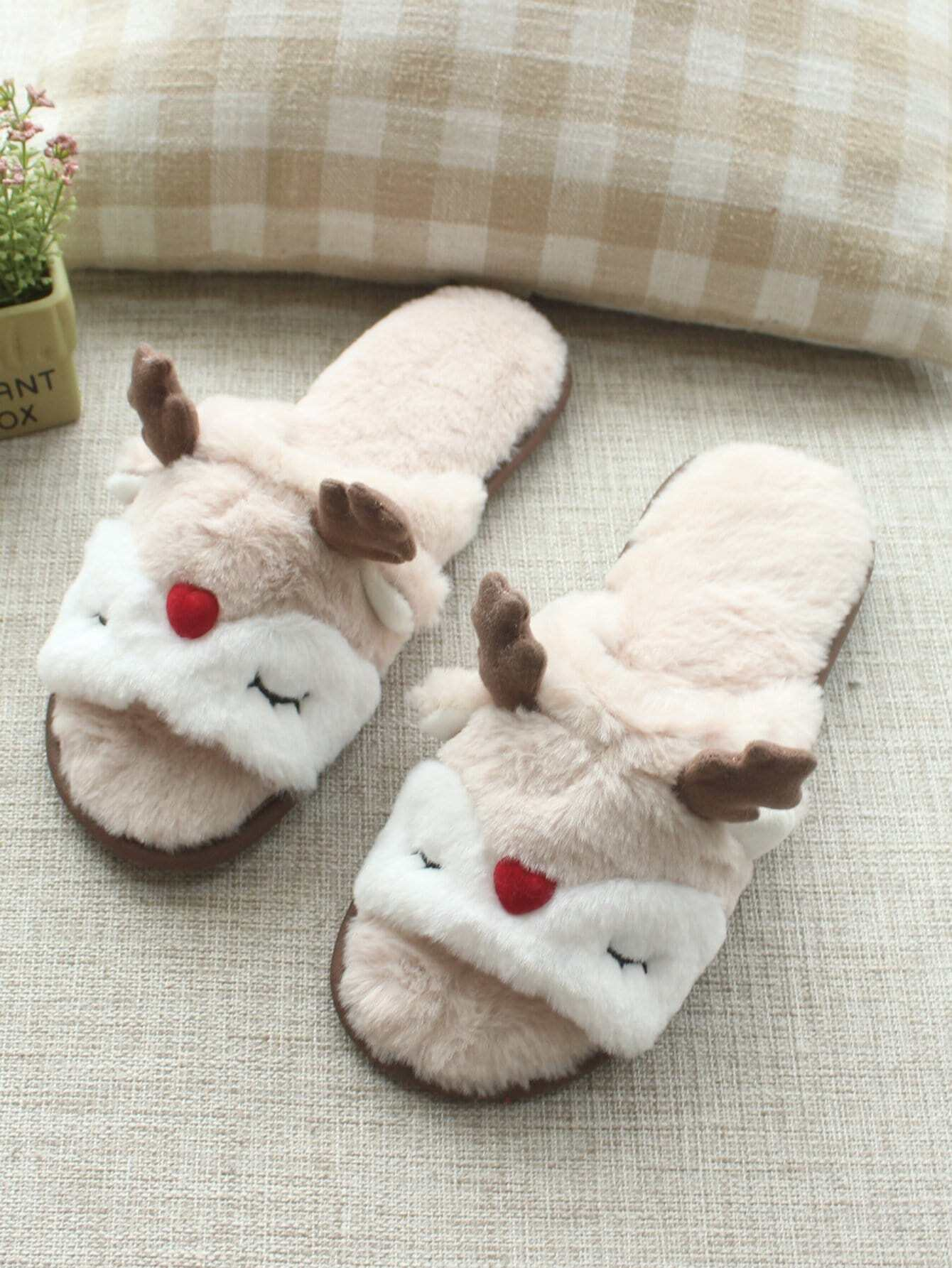 Antlers Detail Faux Fluffy Slippers