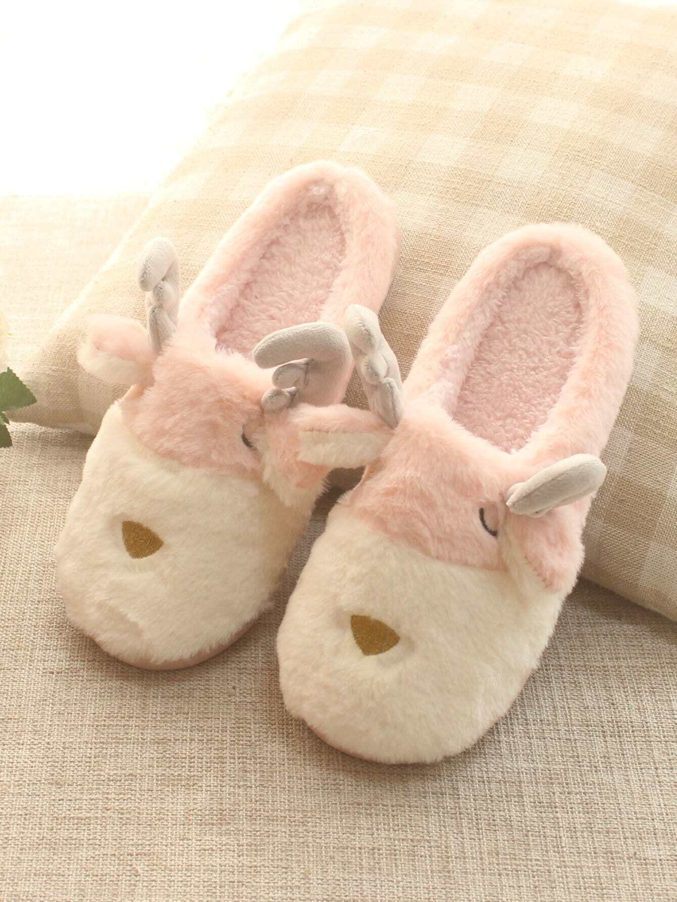 Cartoon Antlers Faux Fluffy Slippers