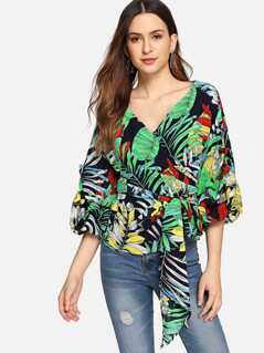 Waist Knot Bell Sleeve Tropical Print Top