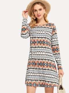 Print Tunic Tribal Dress