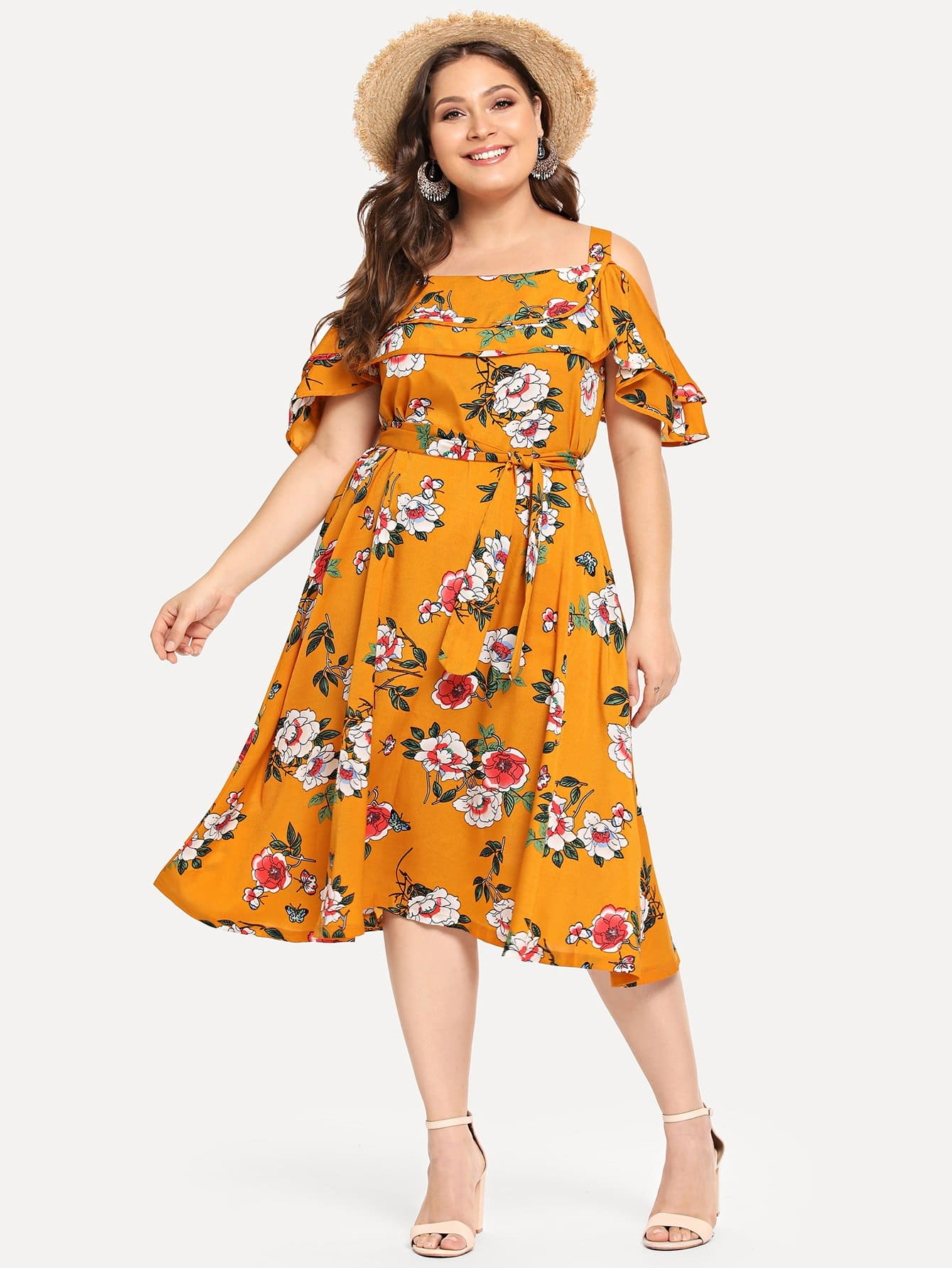 цена Plus Cold Shoulder Flounce Embellished Dress