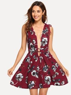 Deep V Neck Tied Shoulder Floral Dress