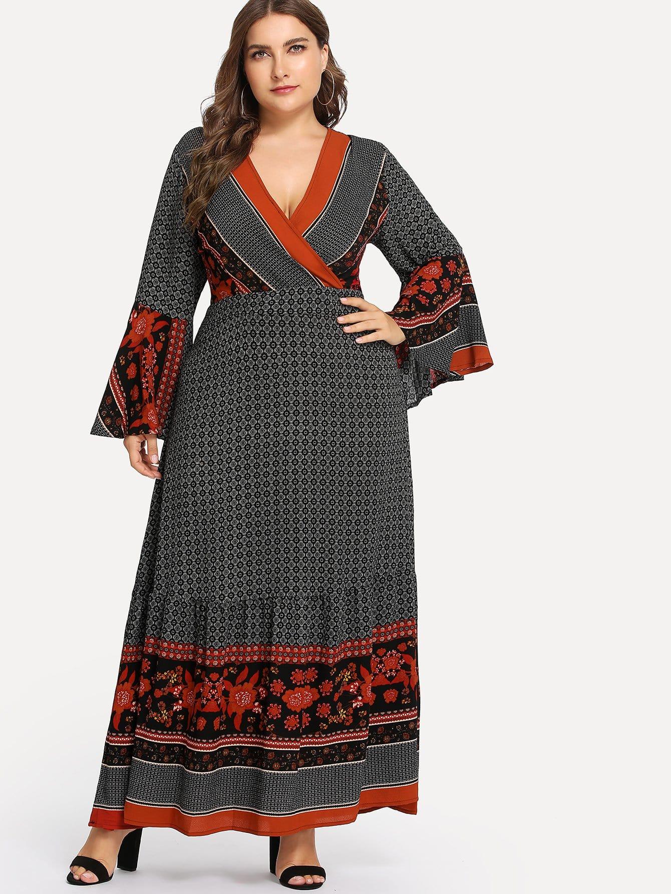 Купить Плюс племенной печати Ruffle Hem Surplice Wrap Dress, Franziska, SheIn