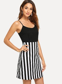 Cut And Sew Striped Cami Dress