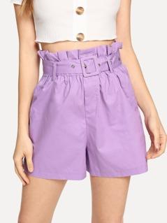 Ruffle Waist Elastic Solid Shorts
