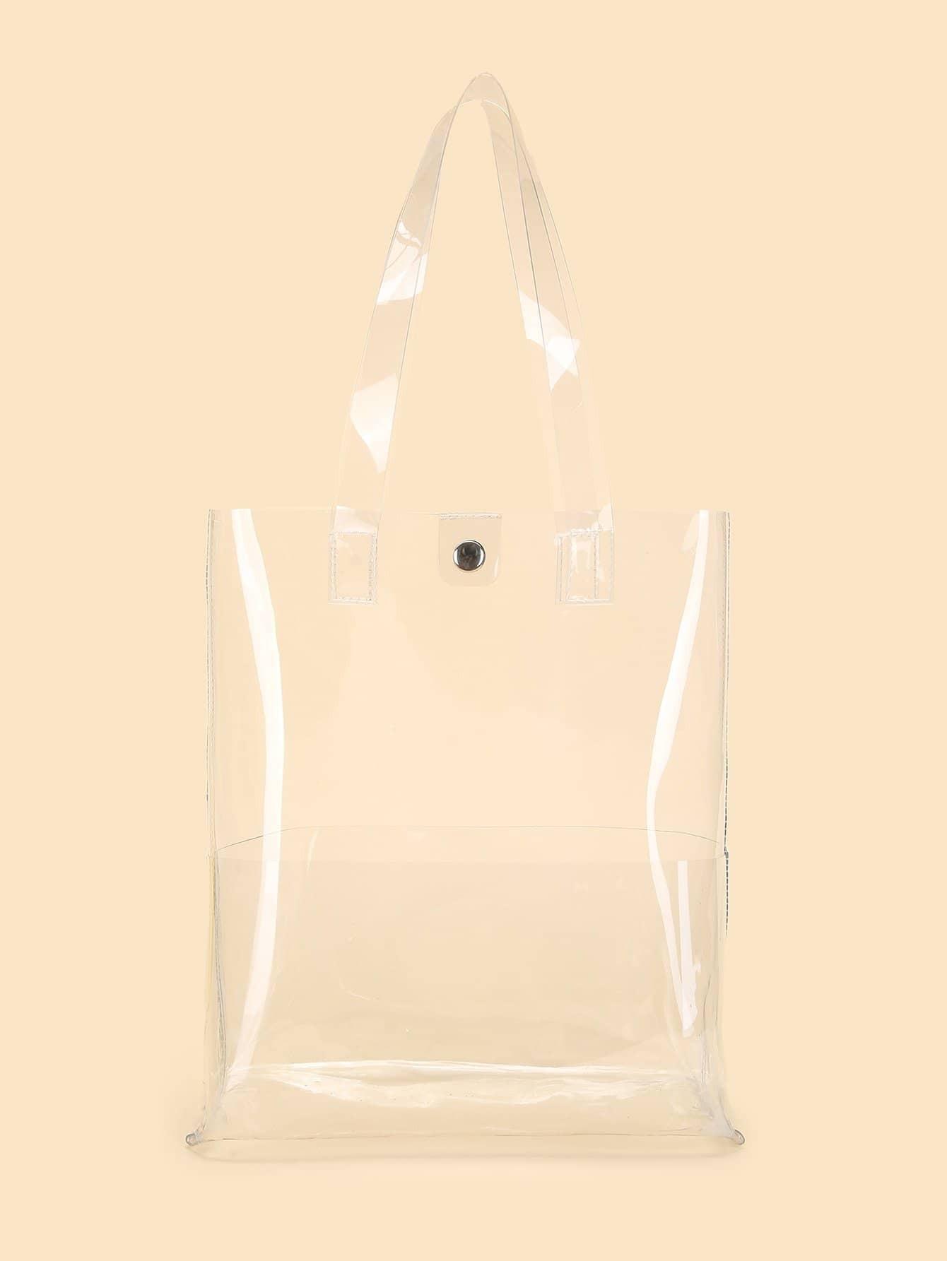 Купить Прозрачные PVC сумки ручка, null, SheIn
