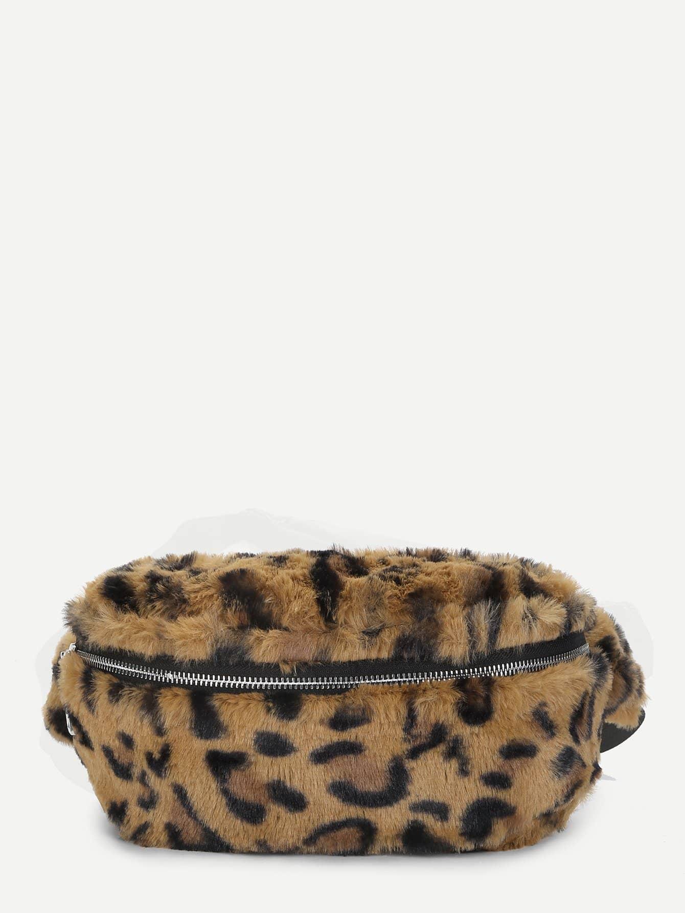 Купить Искусственный Мех Леопарда Шаблон Бомж Сумка, null, SheIn