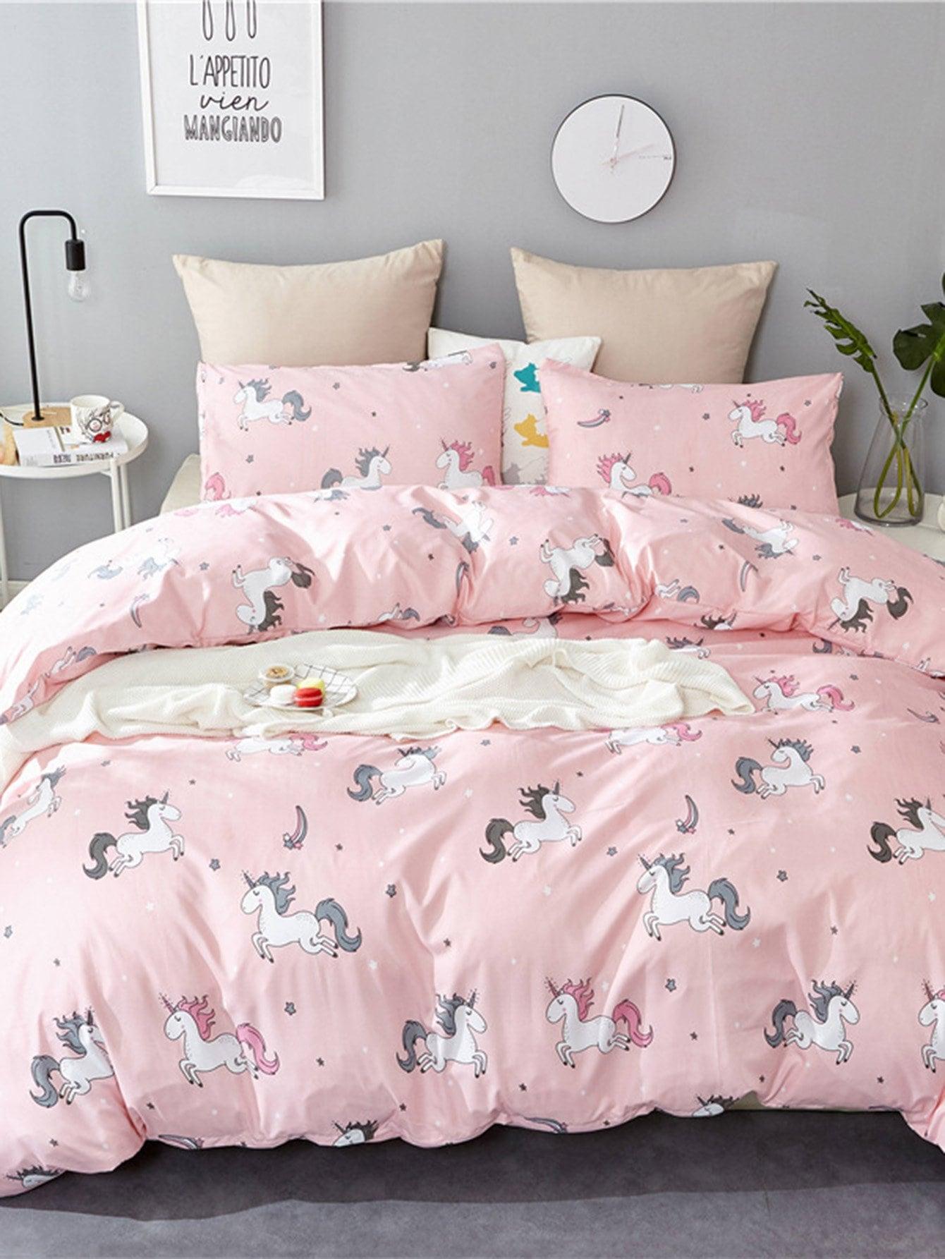Купить Комплект постельного белья с единорог принтом, null, SheIn
