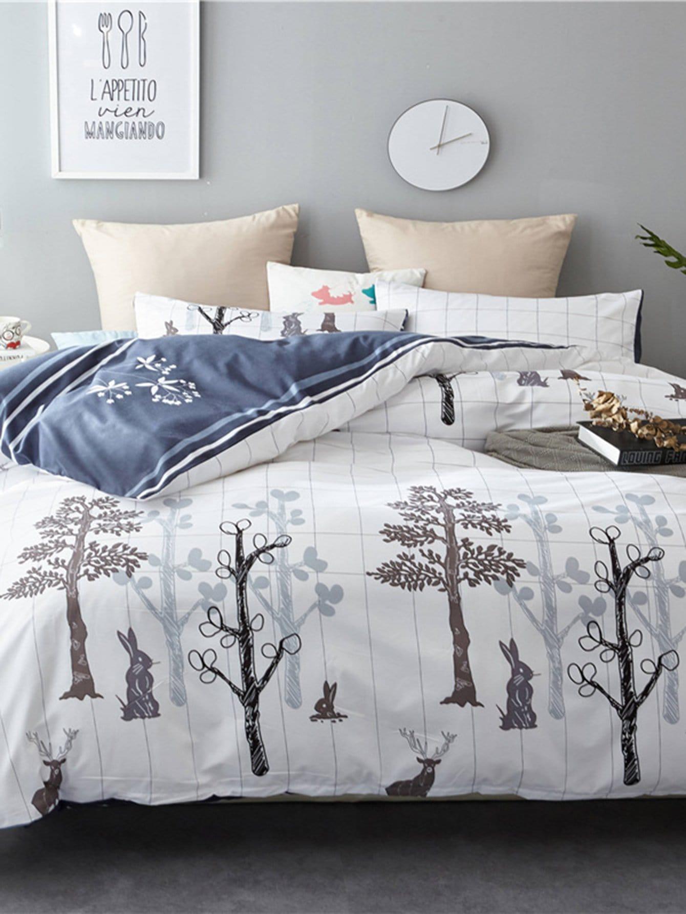 Купить Комплект постельного белья с растительным притном, null, SheIn