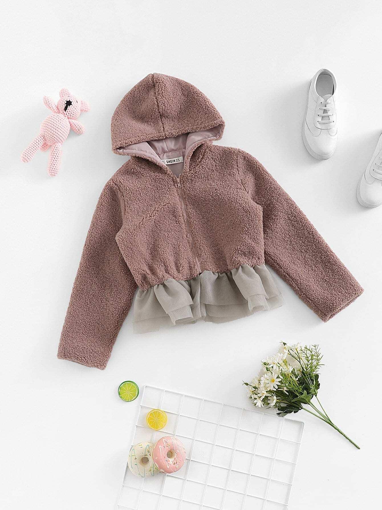 Купить Для девочек куртка с капюшоном с сетчатом низом, null, SheIn