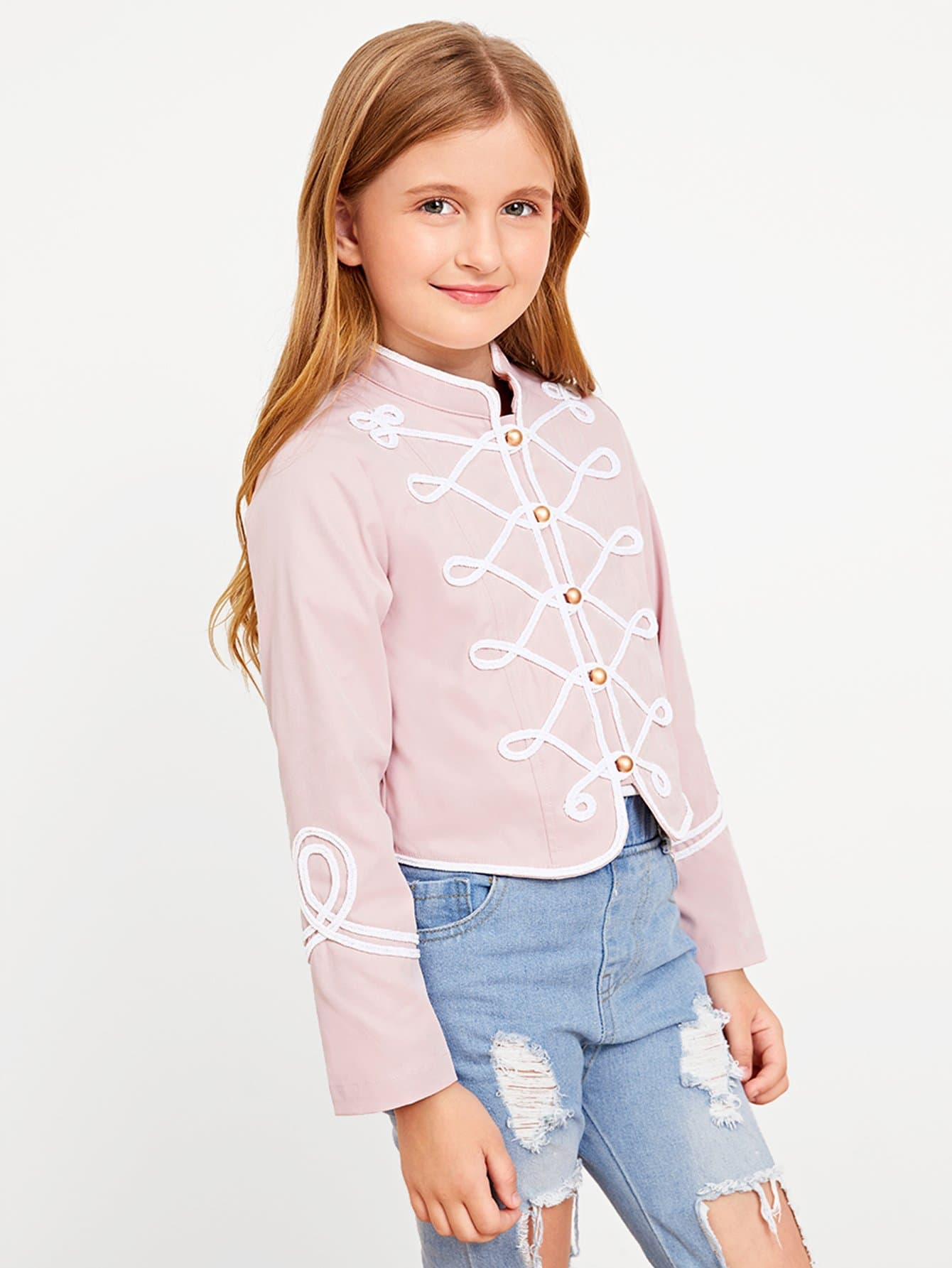 Купить Для девочек контрастное связывание куртка на пуговицах, Dariab, SheIn