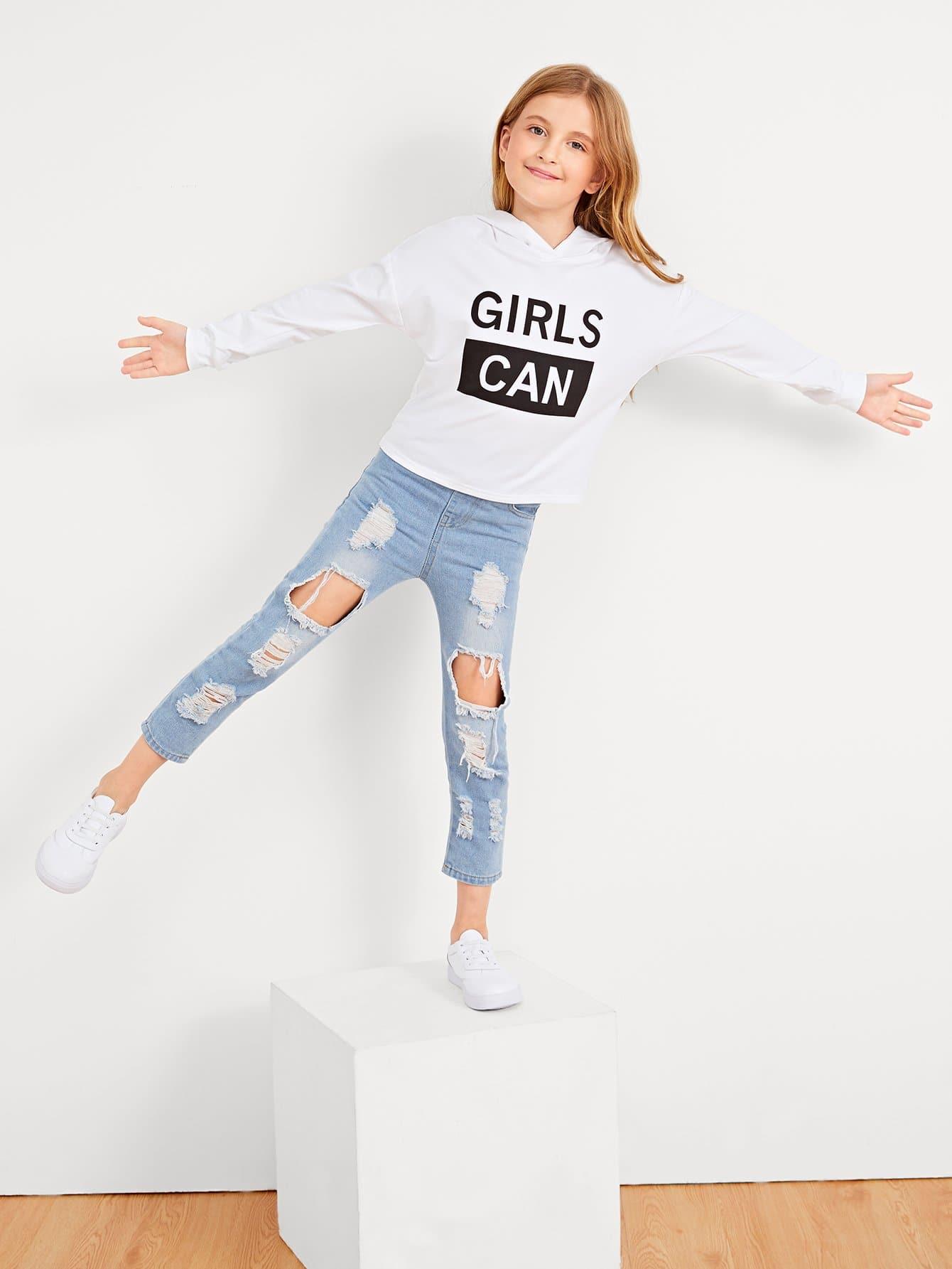 Купить Для девочек свитшот с капюшоном с принтом букв, Dariab, SheIn