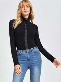Studded Front Slim Fitted Mock Tee