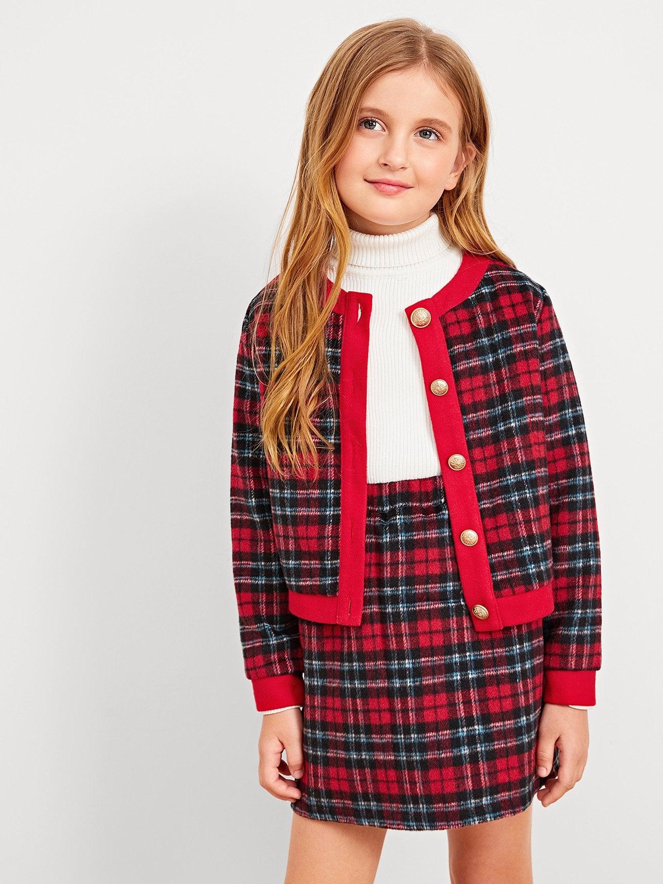 Купить Для девочек комплект юбка и топ в клетку на пуговицах, Dariab, SheIn