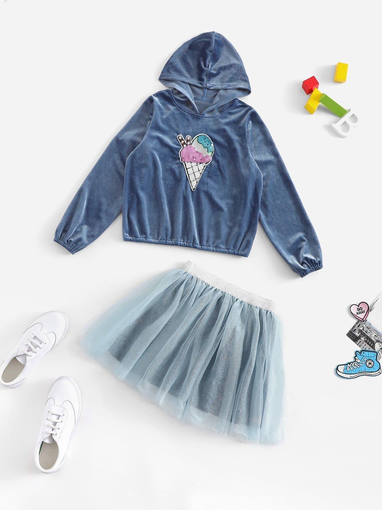 Купить Для девочек топ с капюшоном и сетчатая юбка комплект, null, SheIn