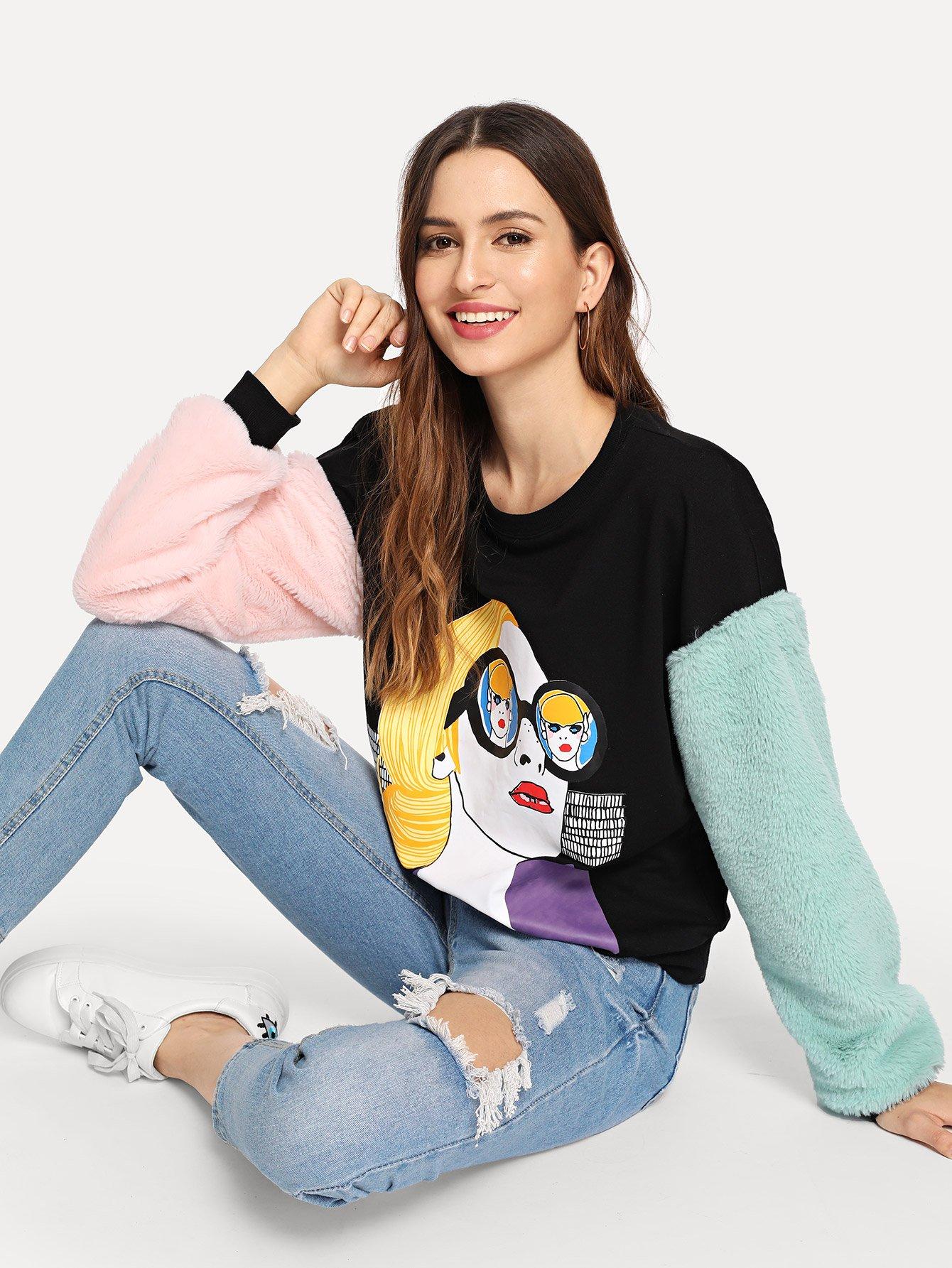 Купить Контрастный пуловер с рисунком принтом из искусственного меха, Jana, SheIn