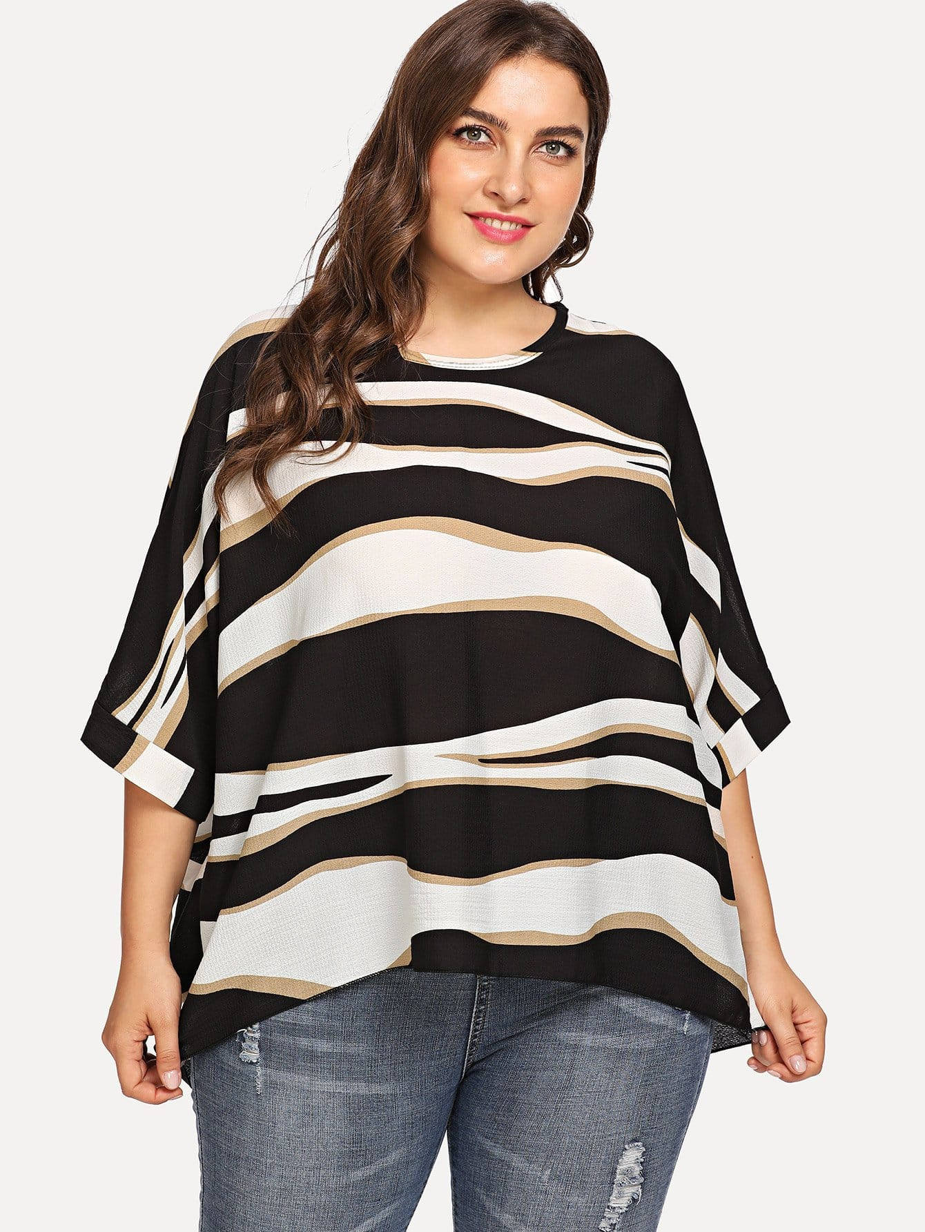 Plus Asymmetric Striped Top