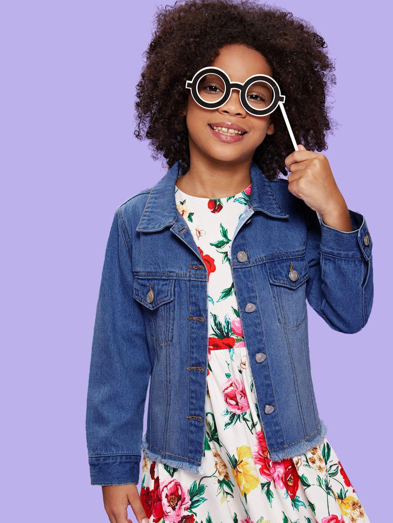 Купить Для девочек джинсовая куртка со сырыми оторочками, Sofia Eze, SheIn