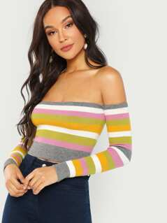 Off The Shoulder Rib Knit Crop Top