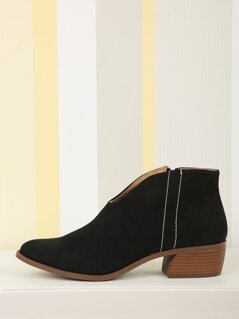 Low Front Faux Suede Booties