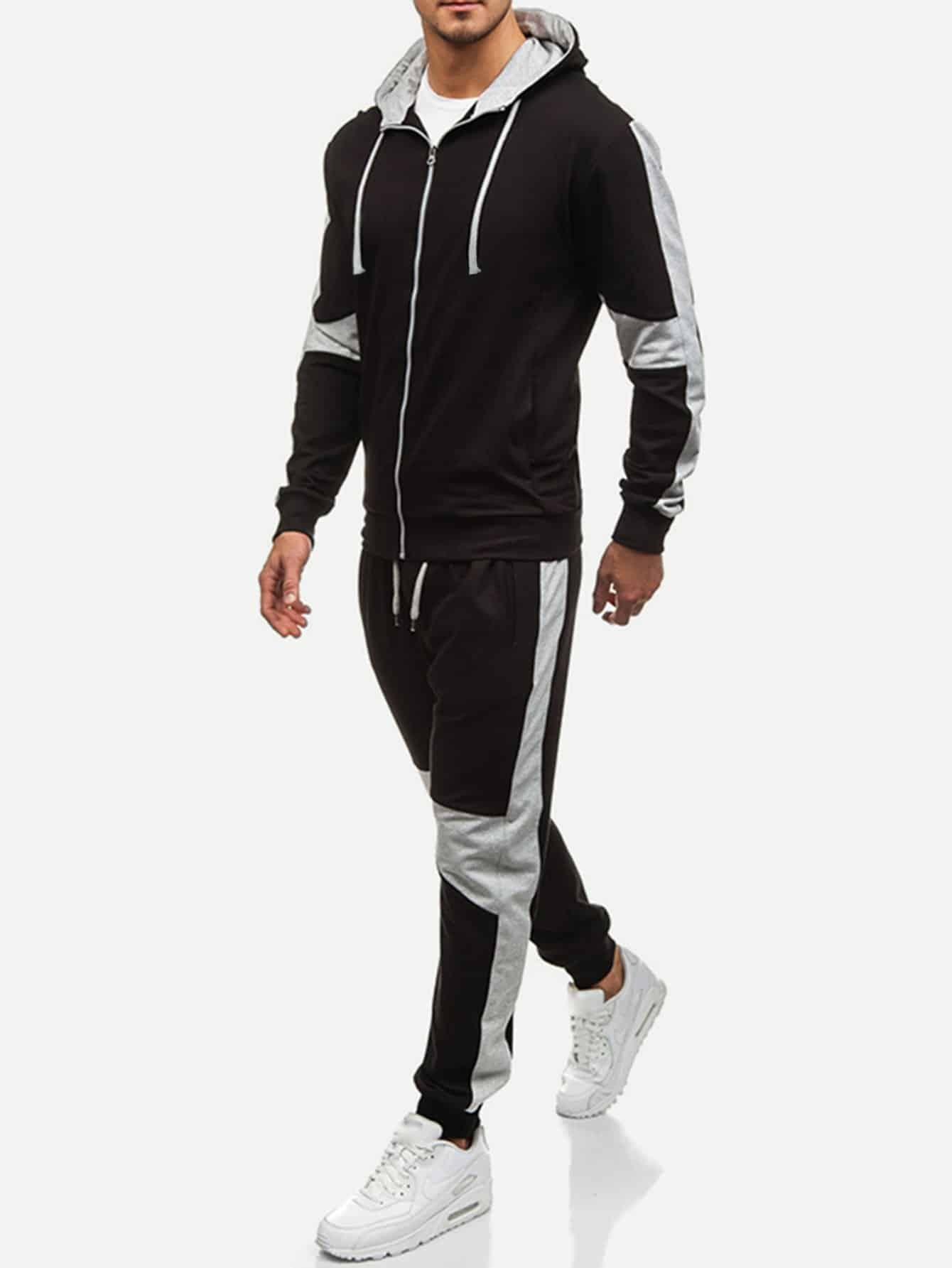 Men Cut And Sew Panel Hooded Sweatshirt With Drawstring Pants