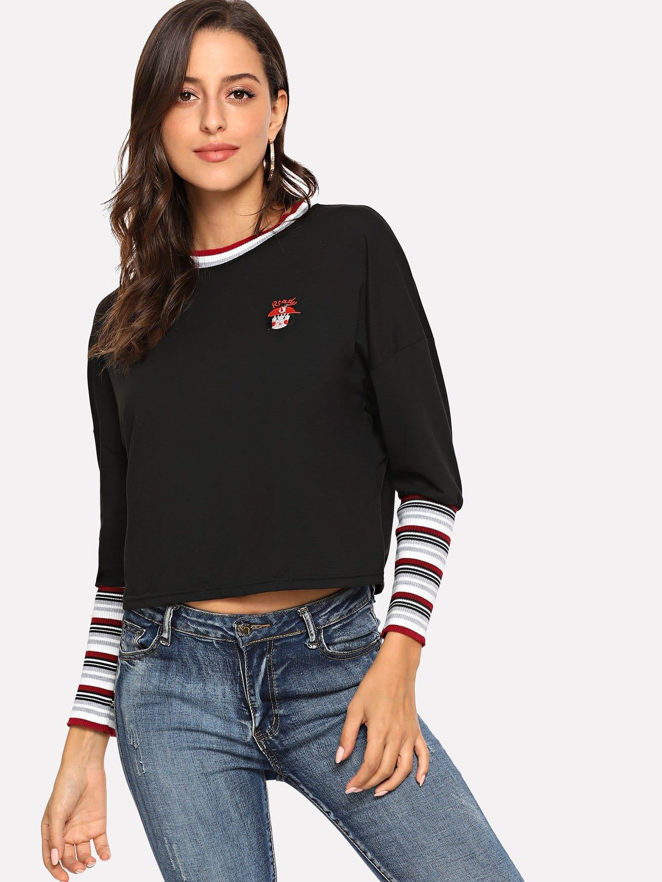 Купить Блуза с заниженной линией плеч и со симметрическими полосами, Mary P., SheIn