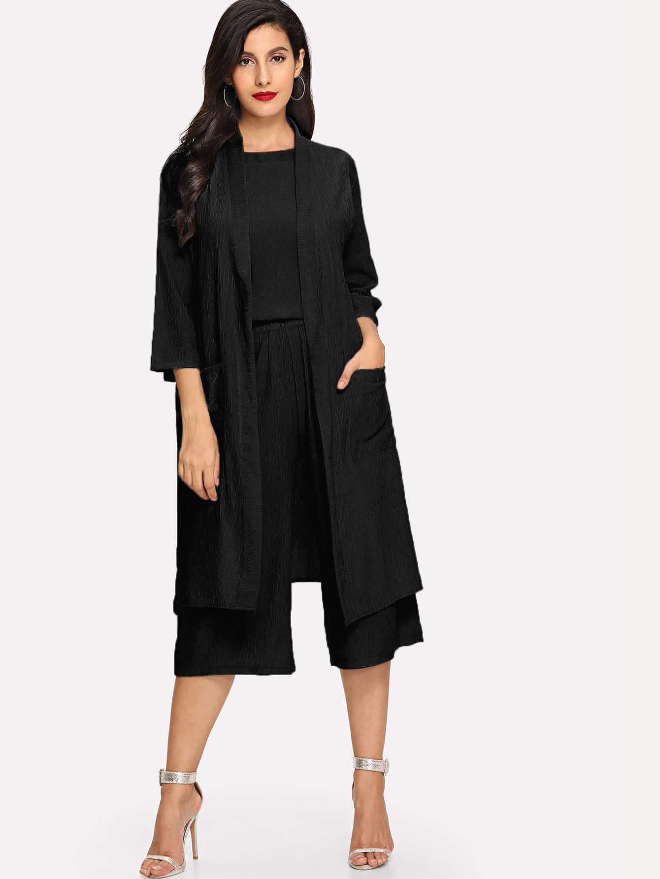 Купить Простая блуза и широкие ножные штаны и длинное кимоно, null, SheIn