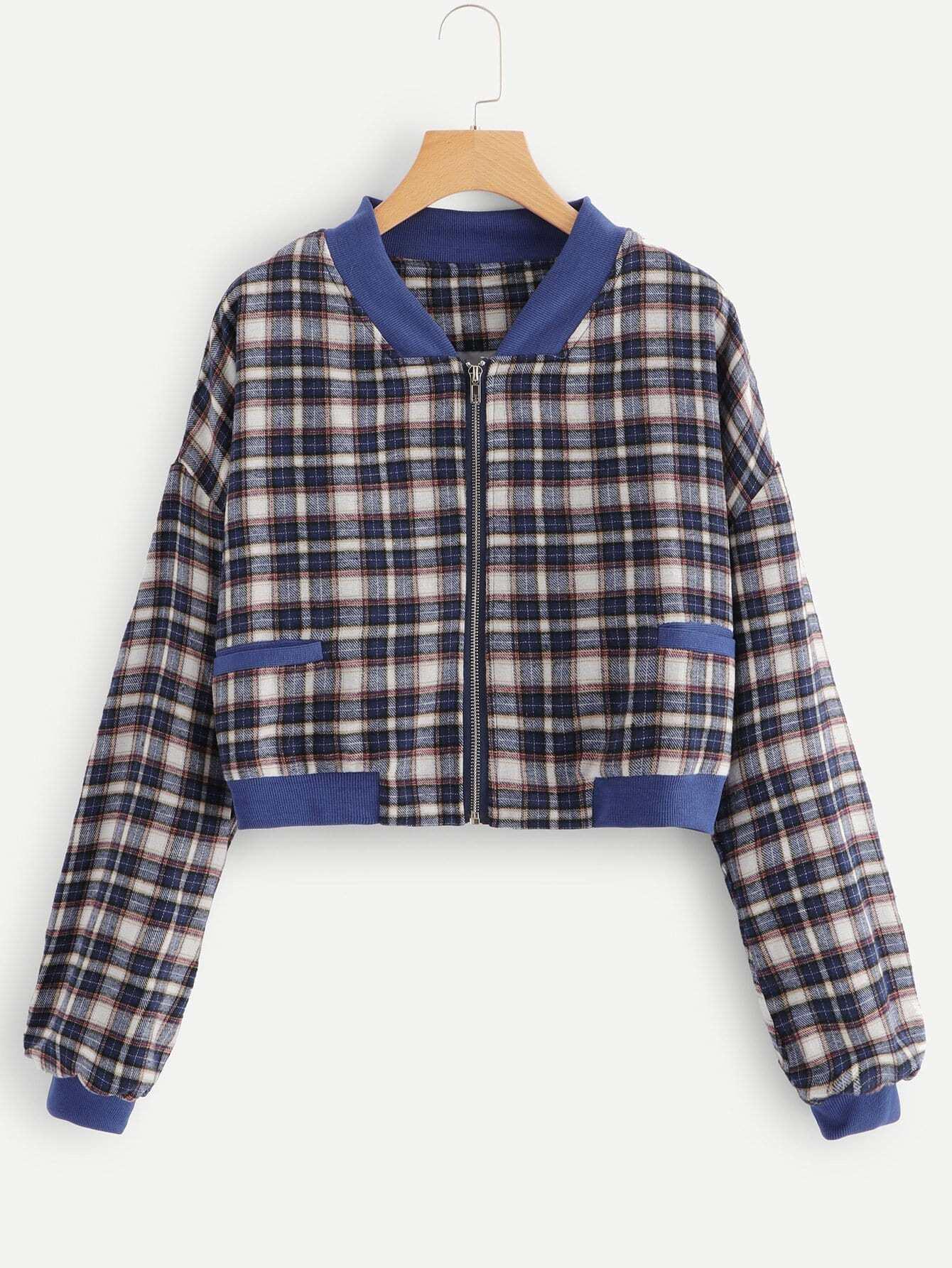 Drop Shoulder Tartan Plaid Jacket