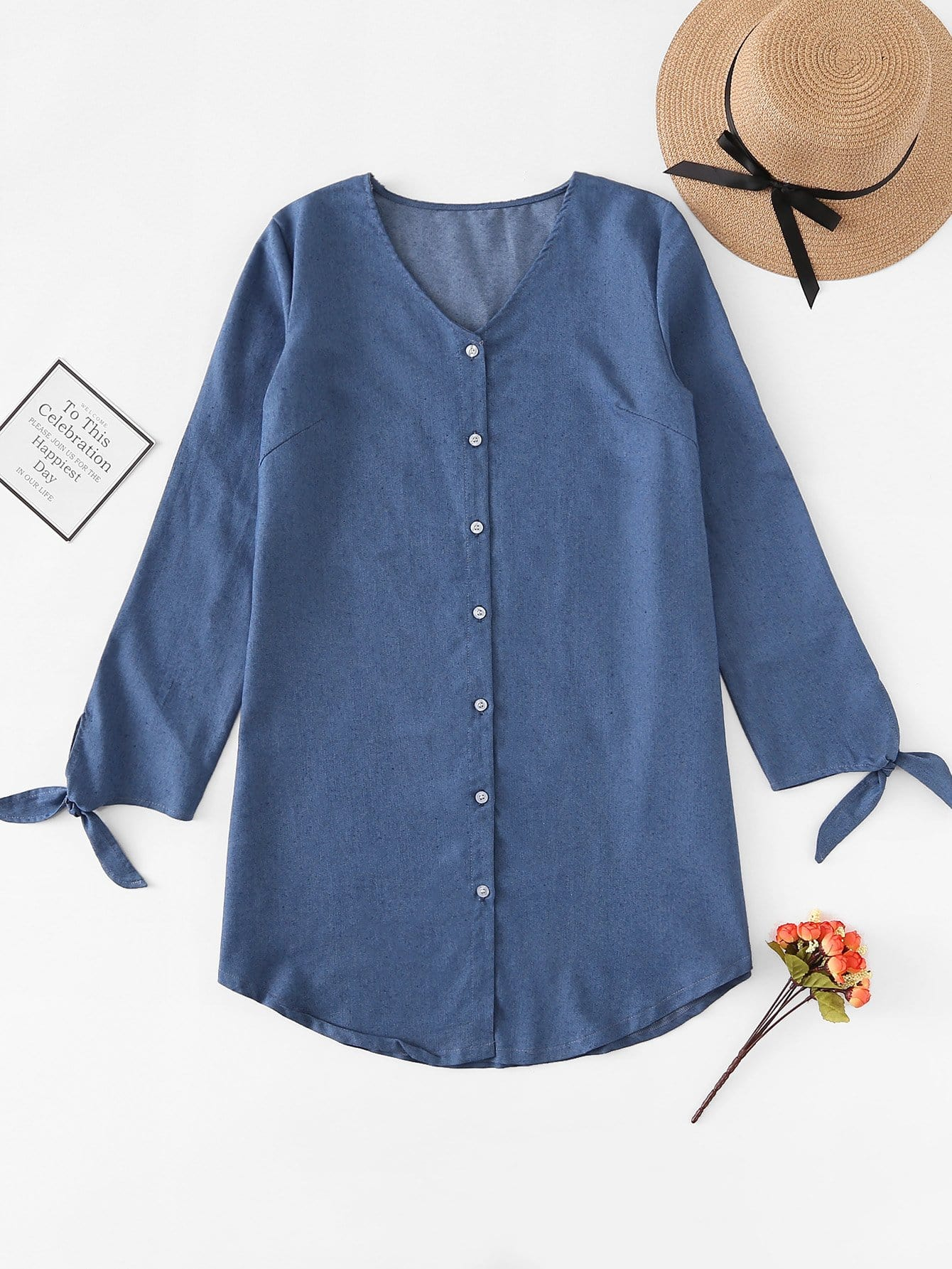 Knot Cuff Button Up Denim Dress